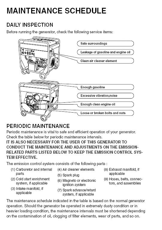 ef12000e preiodic maintenance